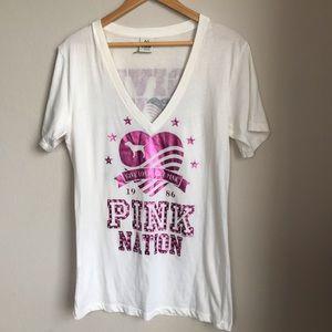 Victorias Secret PINK NATION Tee V Neck White L